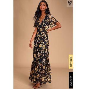 Lulu's (Altered) Lean On Me Multi Print Wrap Dress